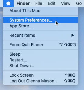 screenshot of clicking the System Preferences in the Apple menu