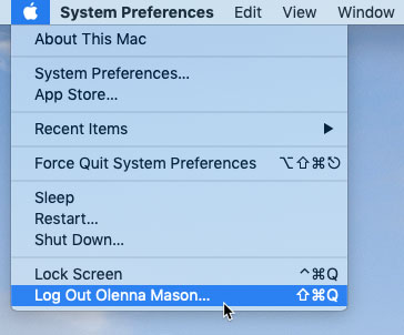 screenshot of clicking Log Out from the Apple menu