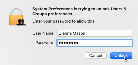 screenshot of entering login credentials to unlock the User & Groups preferences