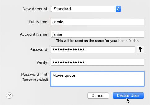 screenshot of a completed form with a username and password