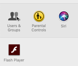 screenshot of selecting Users & Groups from the System Preferences menu