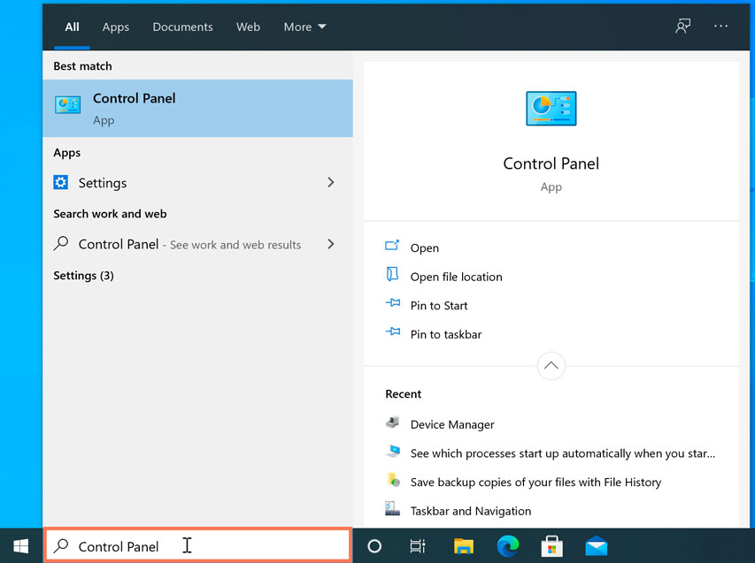 opening the Control Panel in Windows 10
