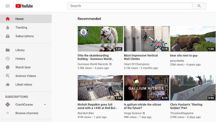 screenshot of the YouTube homepage