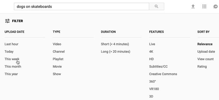screenshot of YouTube's filter menu
