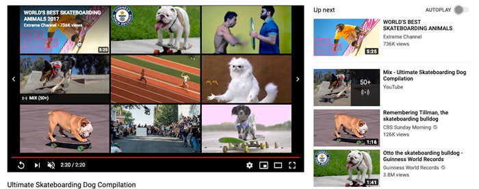 screenshot of related videos on YouTube