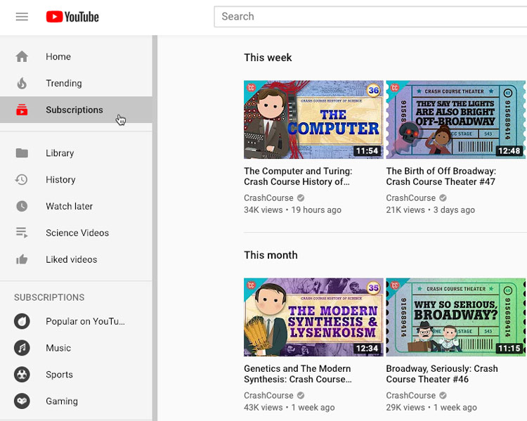 screenshot of the YouTube Subcscriptions tab