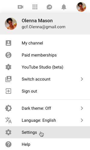 screenshot of how to reach the YouTube Settings page