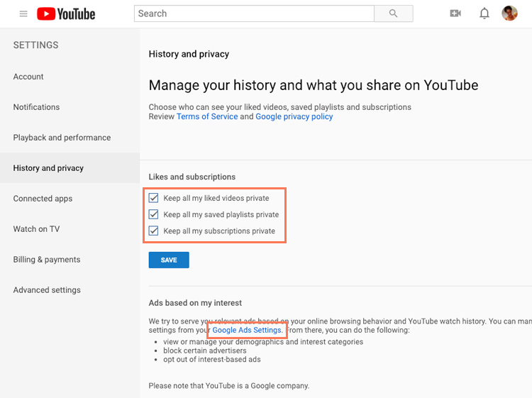 screenshot of the Privacy Settings page on YouTube