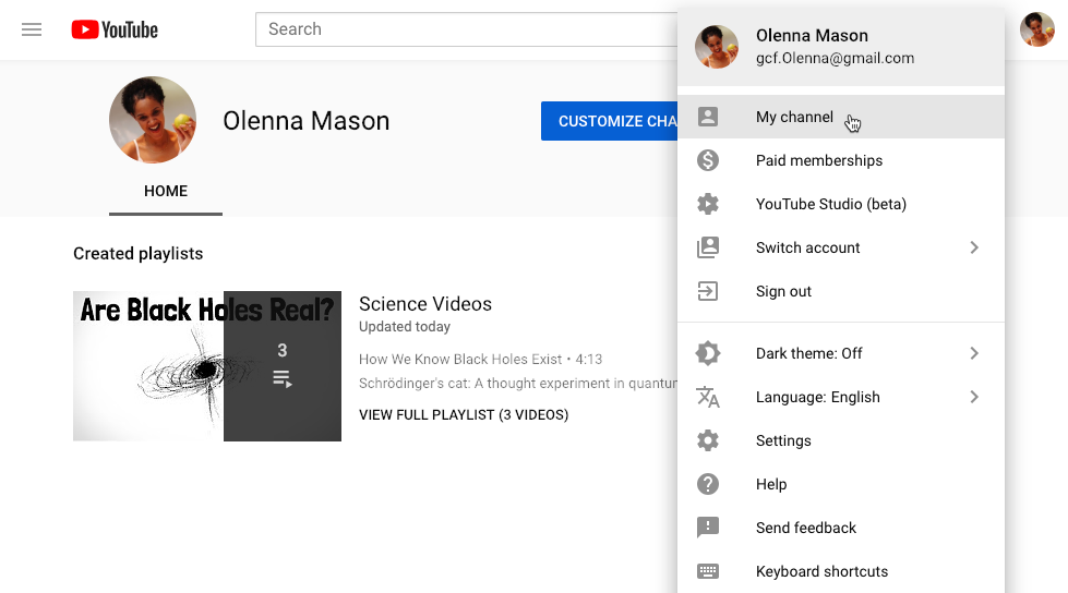 screenshot of how to access your channel on YouTube