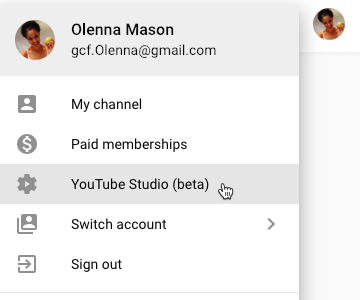 screenshot of how to access the YouTube Studio