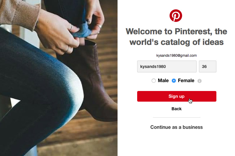 f5d711a1a8c2 You can sign up for Pinterest with your email address or with an existing  Facebook account.