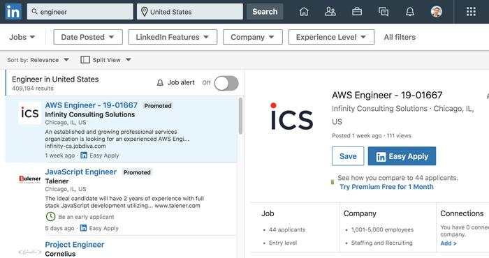 A screenshot of the LinkedIn Job Search tool.