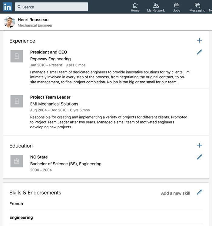 A screenshot of a LinkedIn profile.