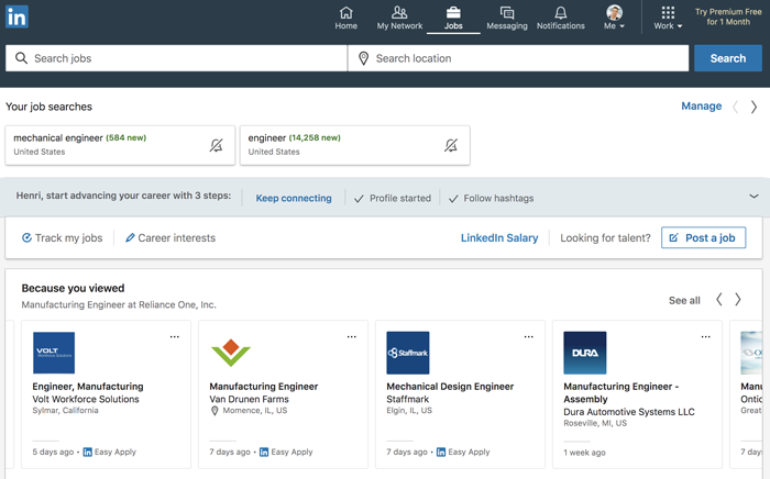 A screenshot of the LinkedIn Jobs page