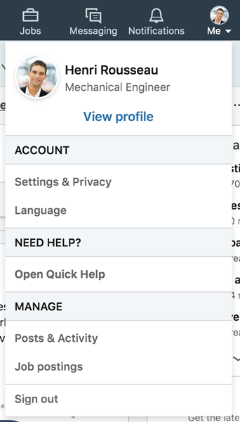 A screenshot of a LinkedIn Me icon menu