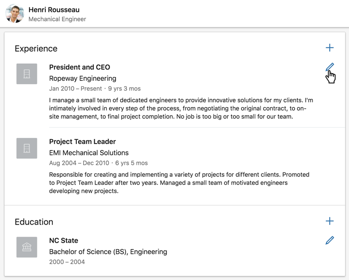 A screenshot of a LinkedIn profile's Experience section