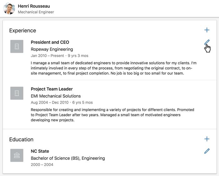 Une capture d'écran de la section Expérience d'un profil LinkedIn