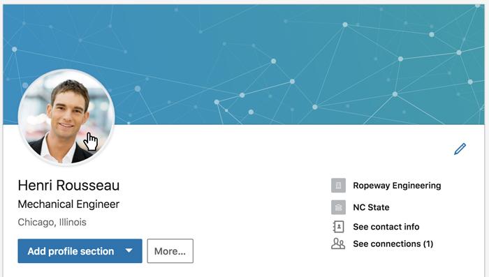 Une capture d'écran d'un profil LinkedIn