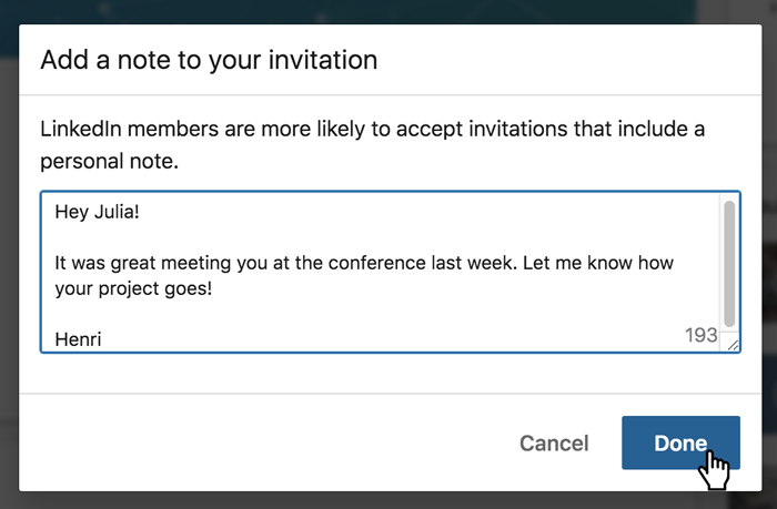 A screenshot of a LinkedIn connection message