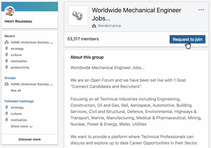 A screenshot of a LinkedIn group
