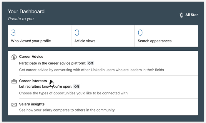 A screenshot of the LinkedIn Your Dashboard section