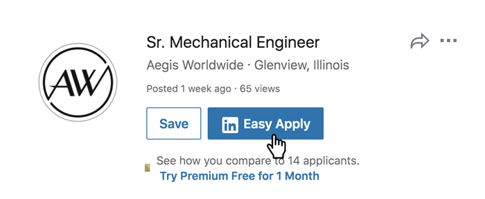 A screenshot of the LinkedIn Easy Apply button