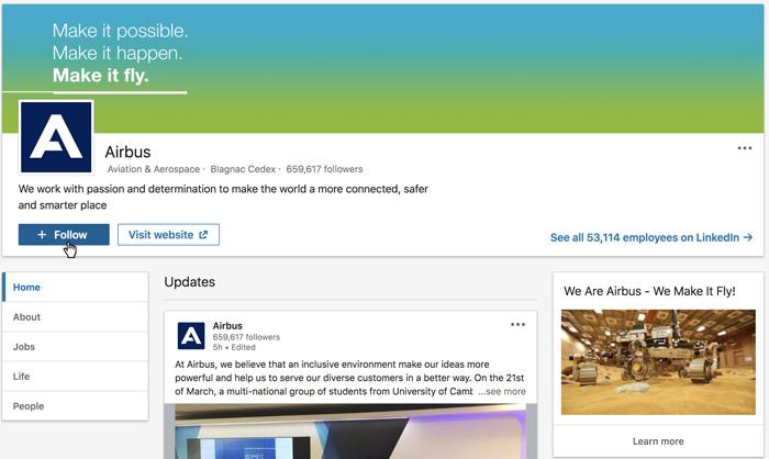 A screenshot of a LinkedIn company page
