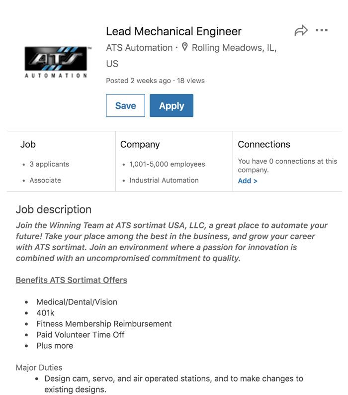 A screenshot of a LinkedIn job opening