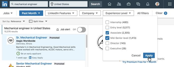 A screenshot of the LinkedIn job search filters