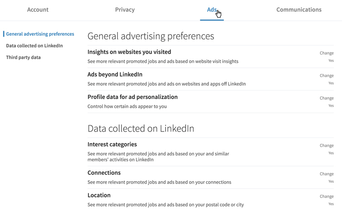 A screenshot of the LinkedIn Ads settings