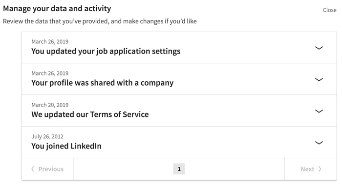 A screenshot of a LinkedIn privacy setting