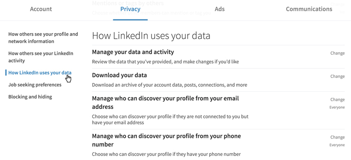 A screenshot of the LinkedIn privacy settings