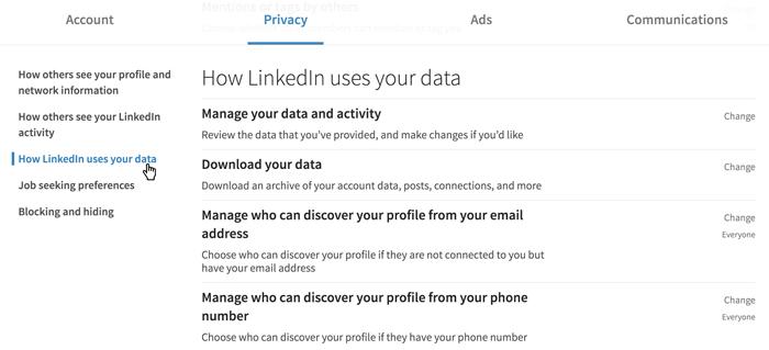 A screenshot of the LinkedIn privacy settings