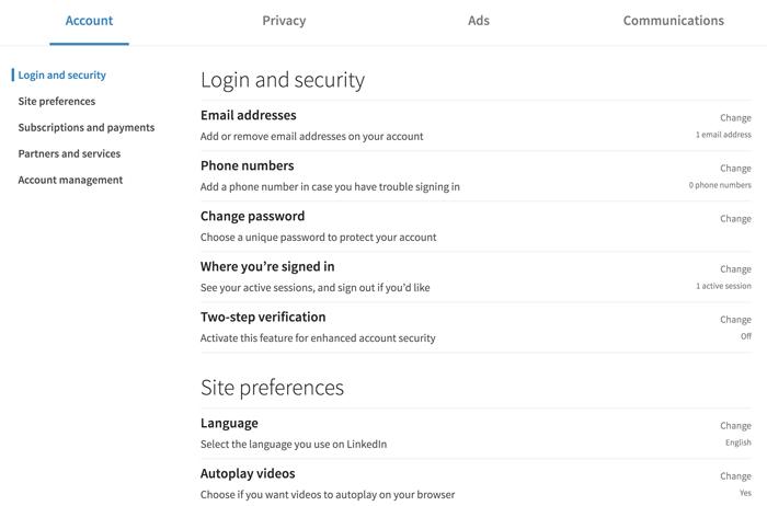A screenshot of the LinkedIn account settings page