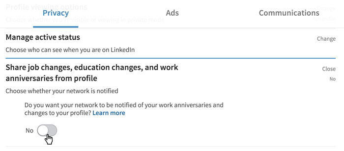A screenshot of a LinkedIn Privacy option