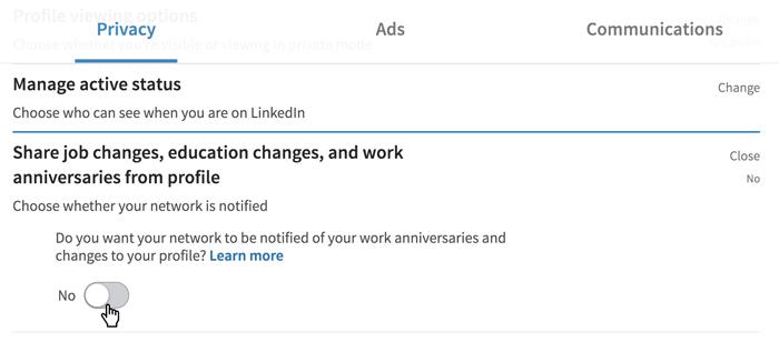 A screenshot of a LinkedIn Privacy option