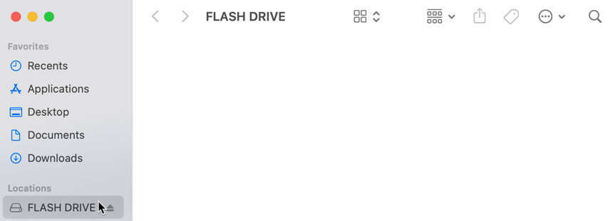 USB flash drive connected to a Mac