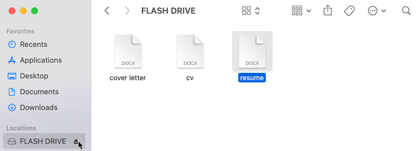 ejecting the flash drive