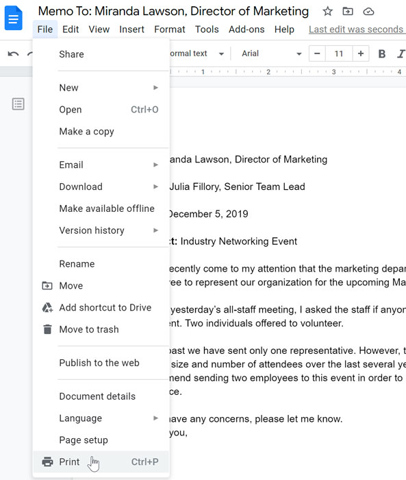 Google Docs file menu