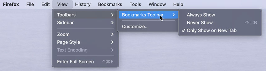 Firefox View menu