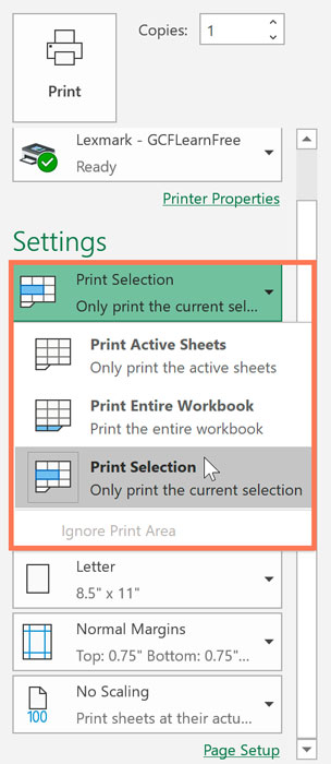 Print selection in Microsoft Excel Print Preview