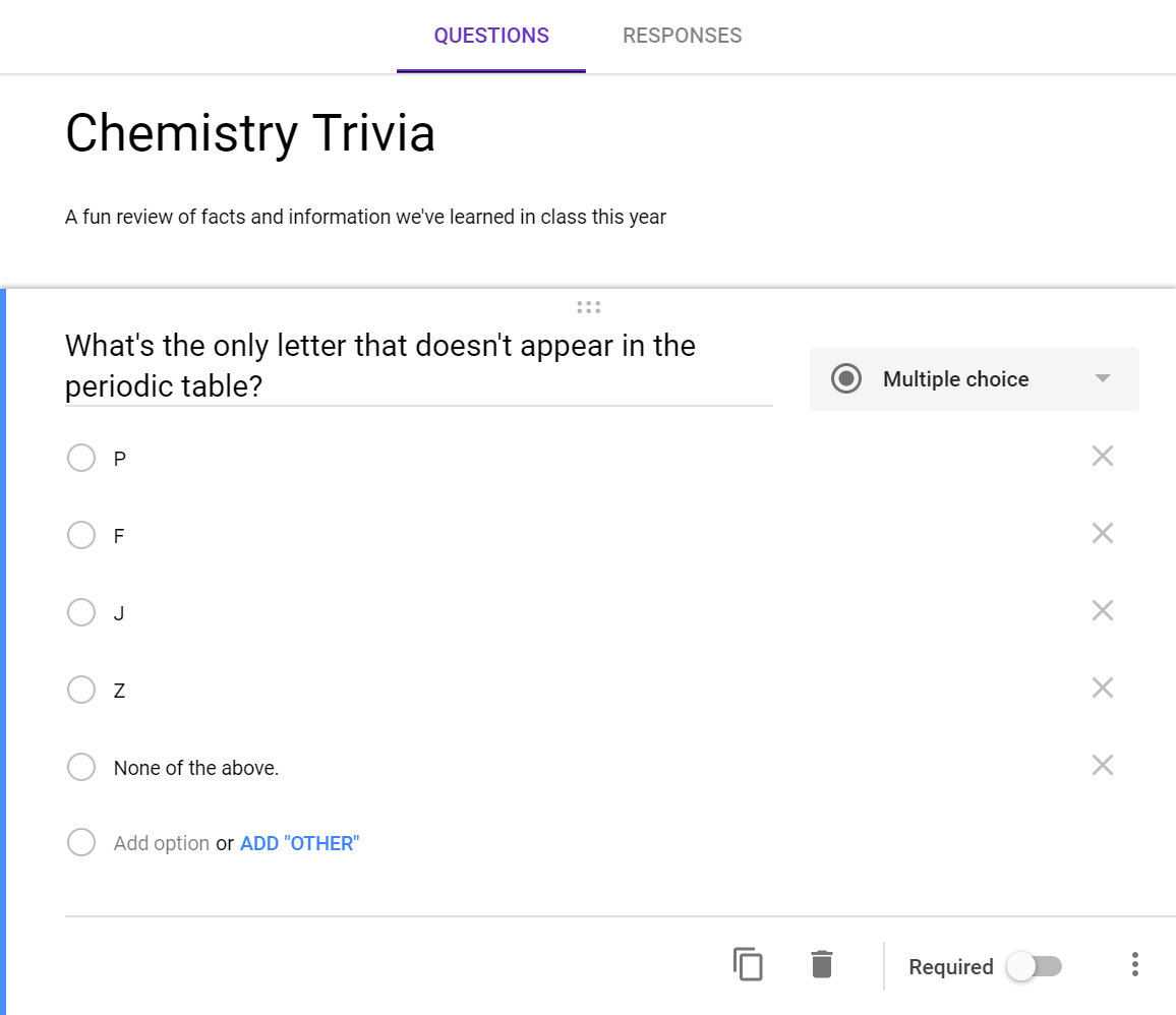 Creating questions in Google Forms