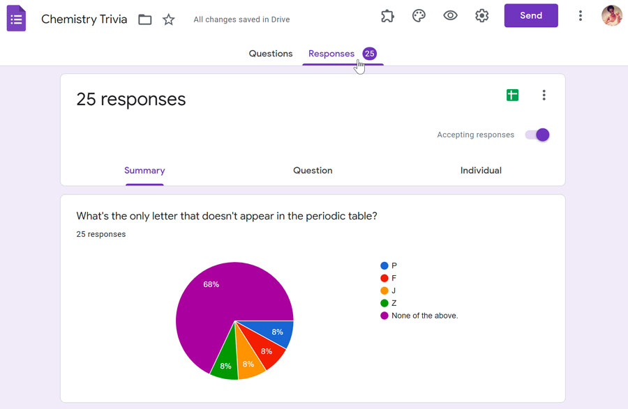 viewing responses in Google Forms