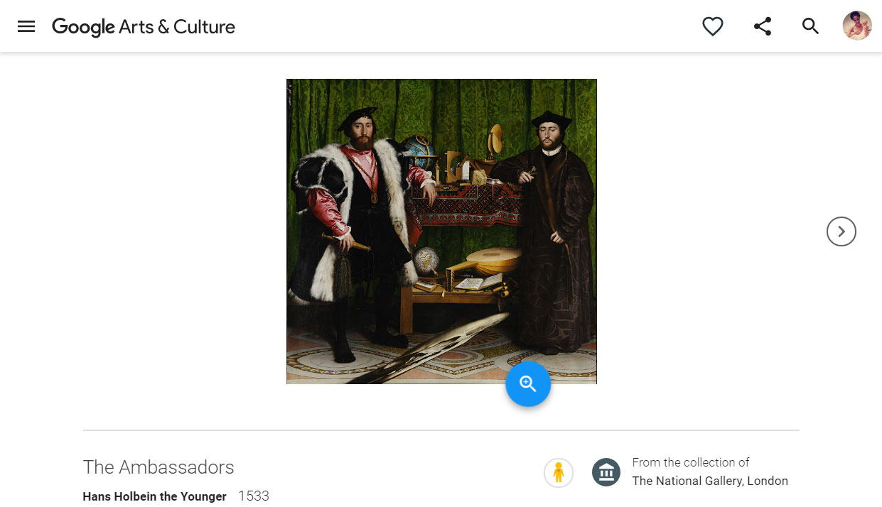 Google art image of the Ambassadors painting