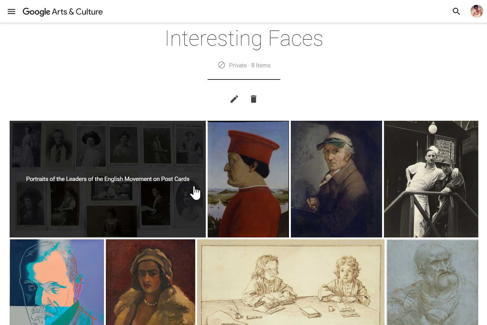 Google Art Projects favorites gallery