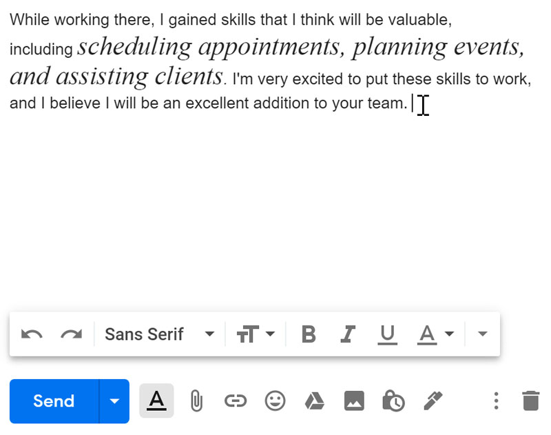 editing text within an email