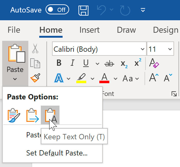 viewing Paste Options in Word