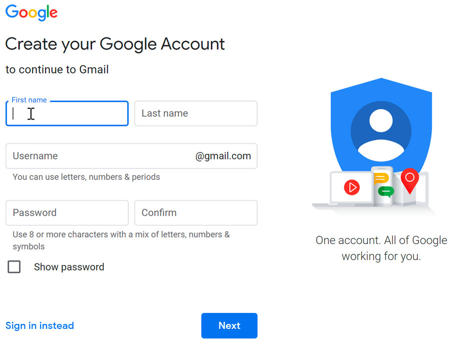 creating a Google Account form
