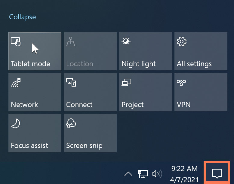 turning on Tablet mode