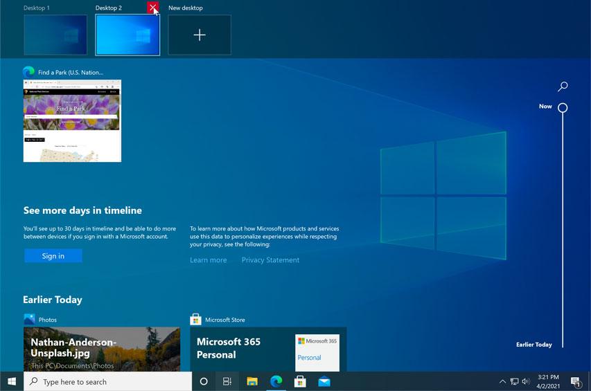 closing a virtual desktop